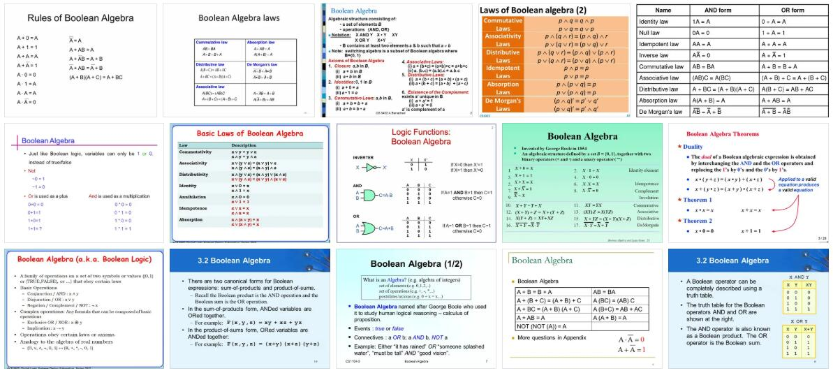 Meaning of Boolean Algebra in English